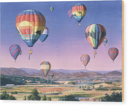 Balloons Over San Dieguito Wood Print