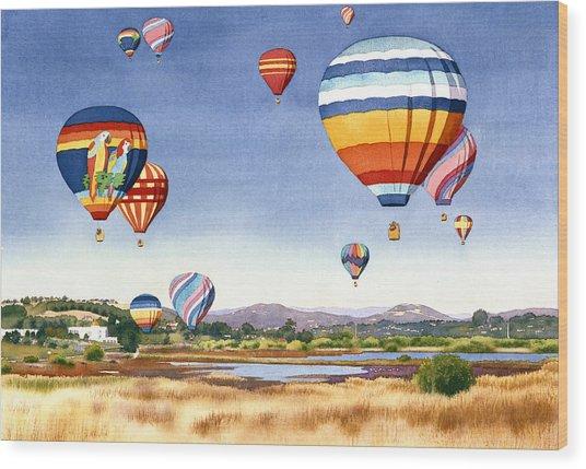 Balloons Over San Elijo Lagoon Encinitas Wood Print by Mary Helmreich