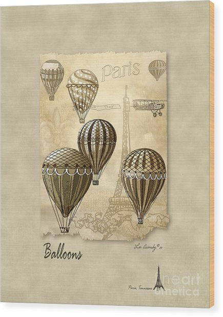Balloons With Sepia Wood Print