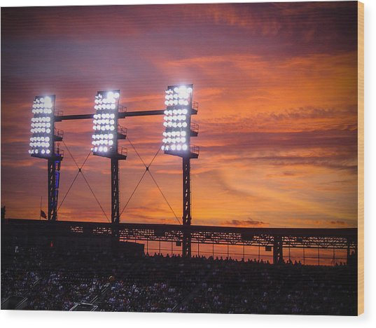 Ballpark At Sunset Wood Print