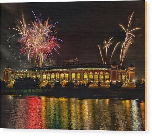 Ballpark Fireworks Wood Print