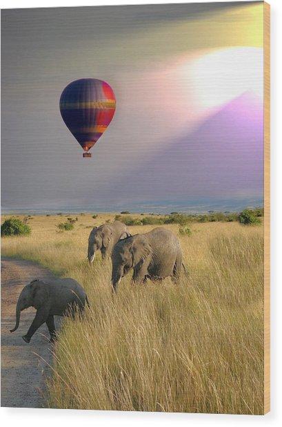 Baloon Safari Wood Print