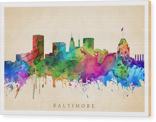 Baltimore Cityscape Wood Print