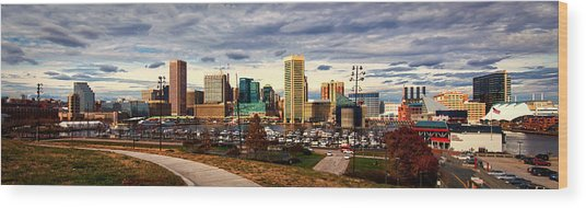 Baltimore Inner Harbor Skyline Panorama Wood Print