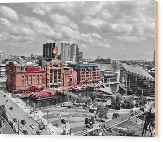 Baltimore Power Plant Color Black White Wood Print