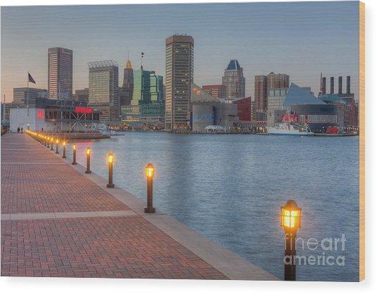 Baltimore Skyline At Twilight I Wood Print