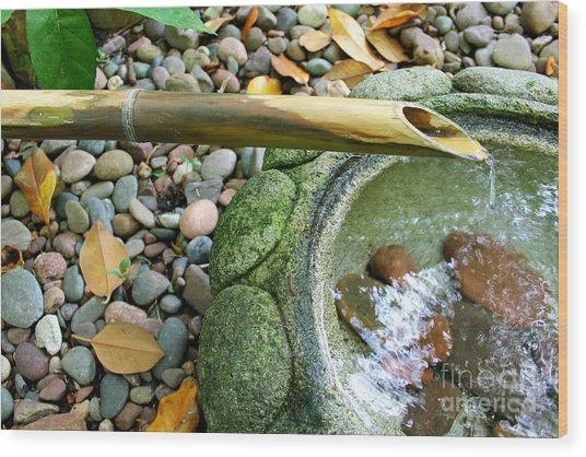 Bamboo Fountain Wood Print