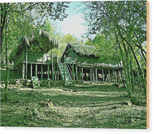 Bamboo House Wood Print by Ankit Sagar