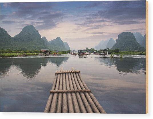 Bamboo Raft On Yulong River Wood Print