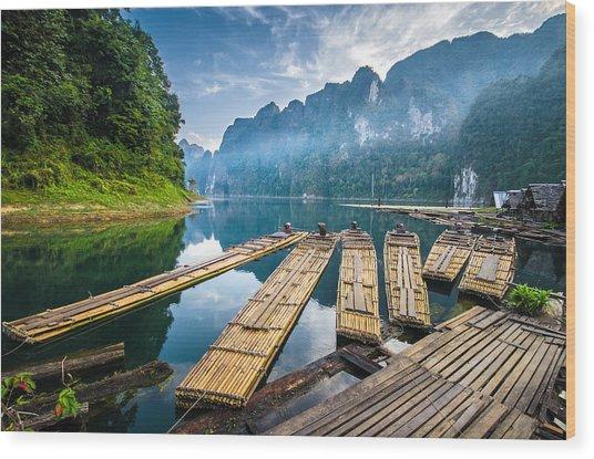 Bamboo Rafting On River Wood Print