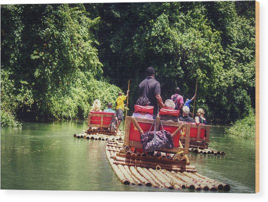 Bamboo River Rafting Wood Print