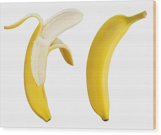 Bananas On White Wood Print by Lew Robertson
