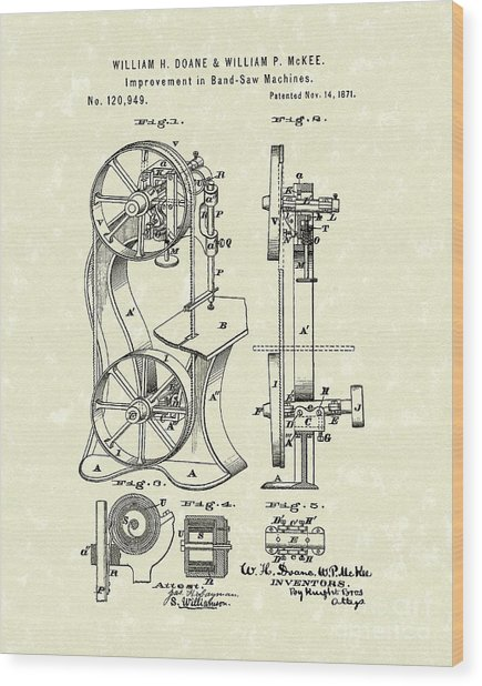 Band Saw 1871 Patent Art Wood Print