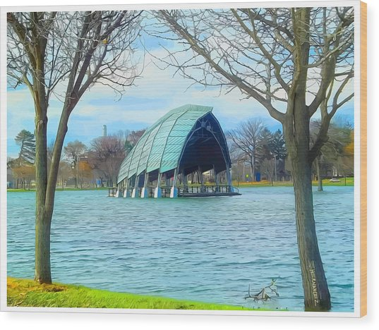 Band Shell After Hurricane Sandy Wood Print by Ed Hernandez