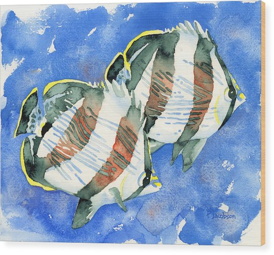 Banded Butterflyfish Wood Print