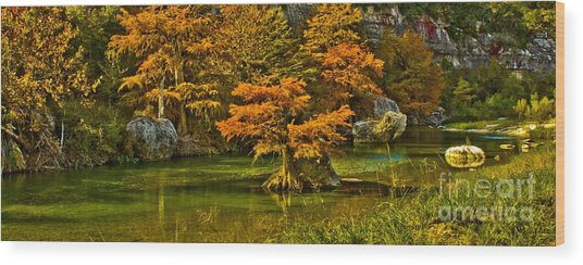 Bandera Falls On Medina River Wood Print