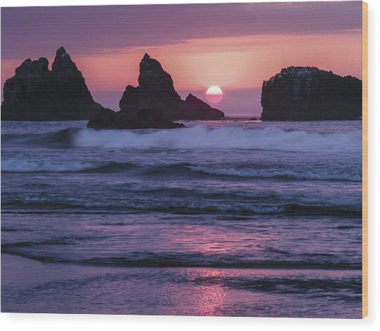 Bandon Beach Sunset Wood Print