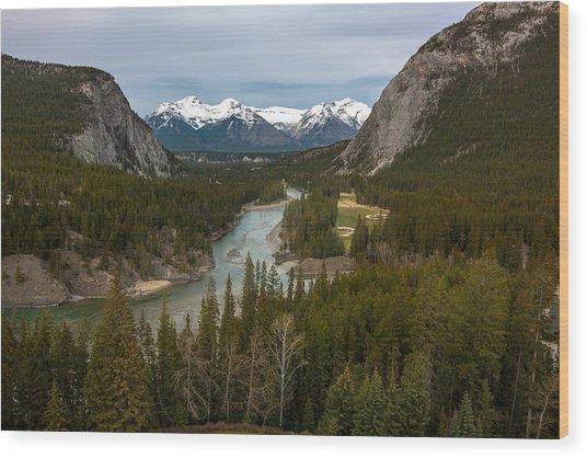 Banff Springs In Spring Wood Print