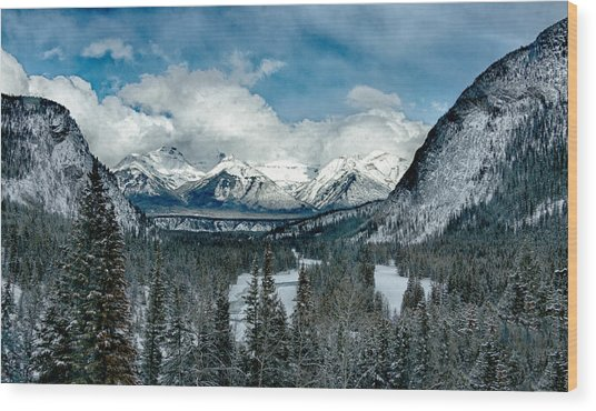 Banff Springs Valley In Winter Wood Print