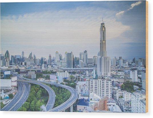 Bangkok City Day View  Wood Print