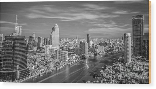 Bangkok City In Day Time With The River  Wood Print