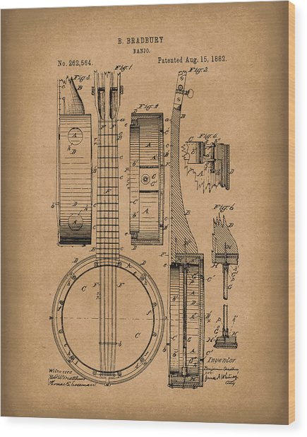Banjo 1882 Patent Art Brown Wood Print