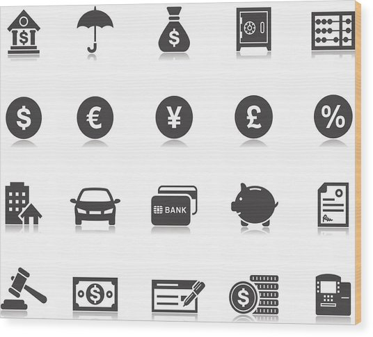 Banking & Finance Icons | Pictoria Series Wood Print by Runeer