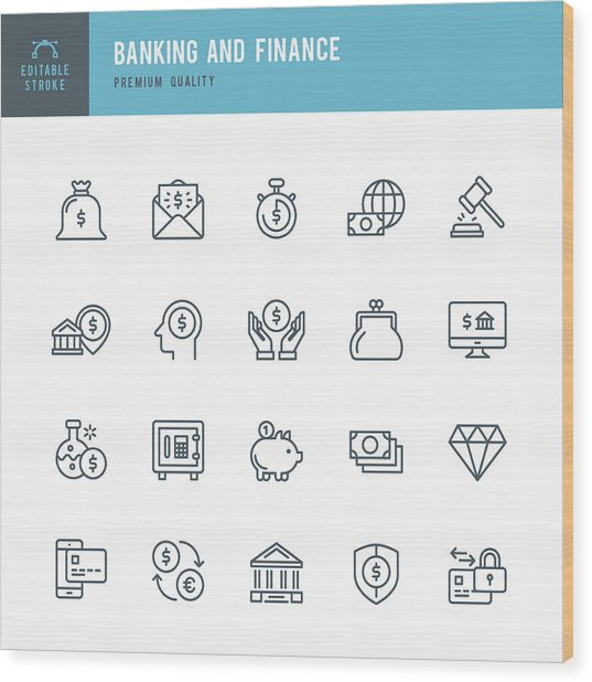 Banking And Finance  - Thin Line Icon Set Wood Print by Fonikum