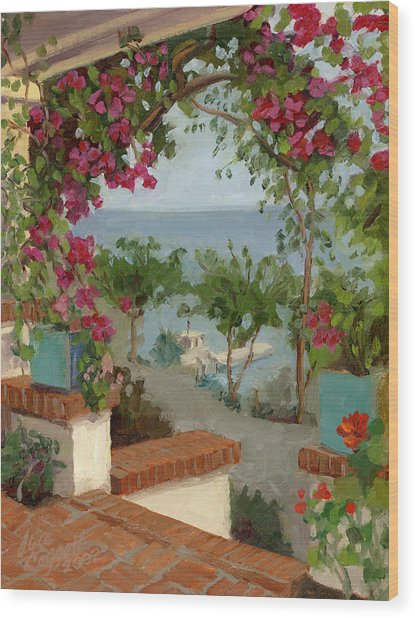 Banning House Bougainvillea Wood Print