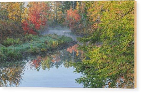 Bantam River Autumn Wood Print