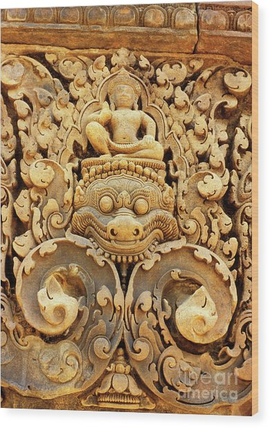 Banteay Srei Carving 01 Wood Print