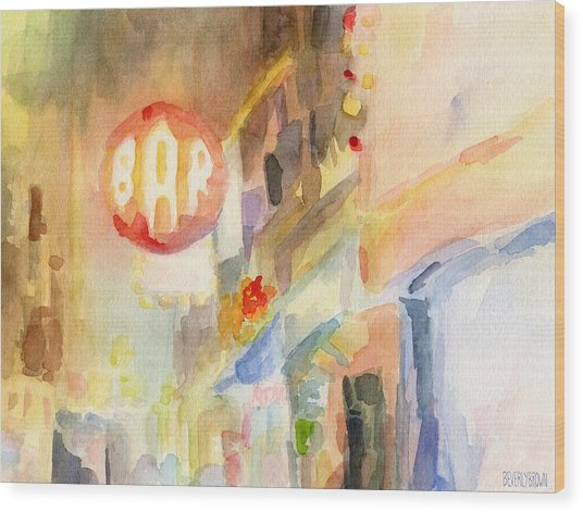 Bar 8th Avenue Watercolor Painting Of New York Wood Print