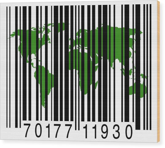 Bar Code With The World Map Wood Print