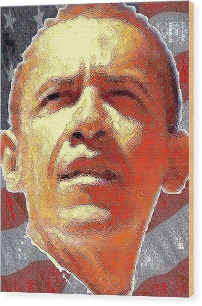 Barack Obama American President - Red White Blue Portrait Wood Print