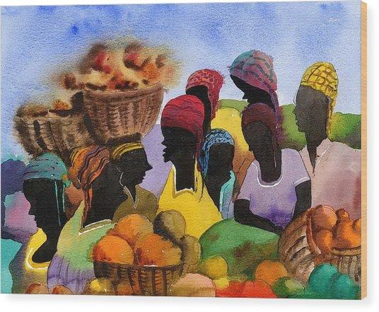 Barbados Market 1  Wi Wood Print