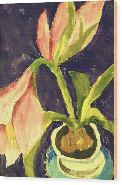 Barbara's Lily Wood Print by Valerie Lynch