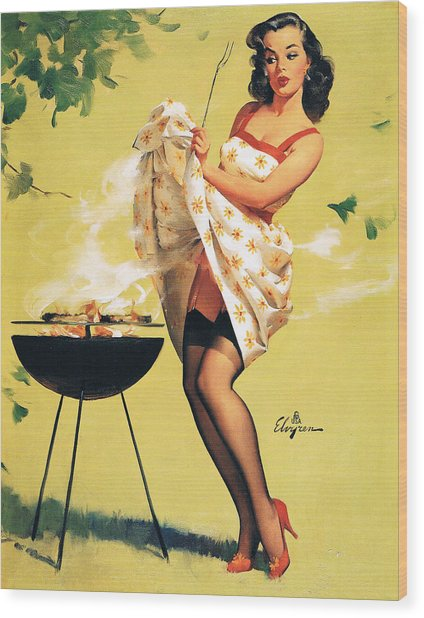 Barbecue Time - Retro Pinup Girl Wood Print