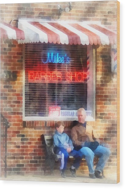Barber - Neighborhood Barber Shop Wood Print