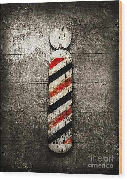 Barber Pole Selective Color Wood Print
