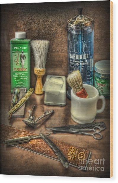 Barber Shop Tools  Wood Print