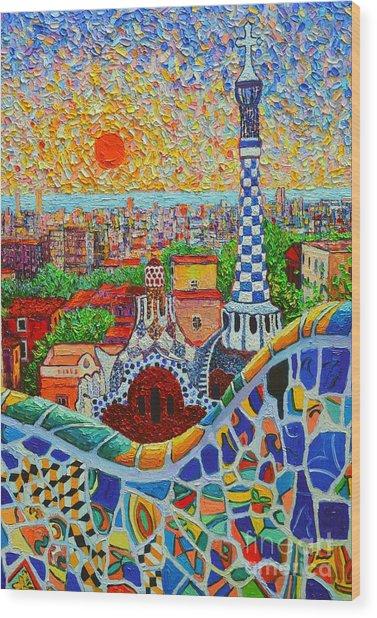 Barcelona Sunrise - Guell Park - Gaudi Tower Wood Print