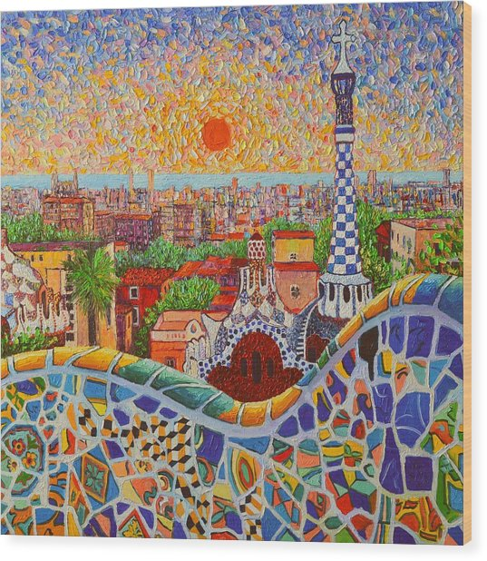 Barcelona Sunrise Light - View From Park Guell Of Gaudi - Square Format Wood Print