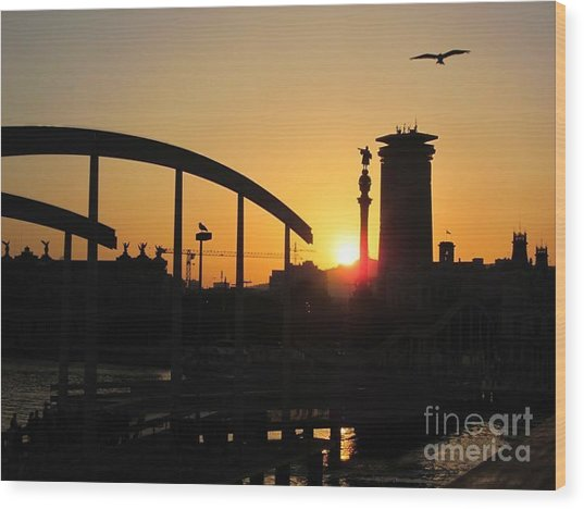 Barcelona Sunset Wood Print