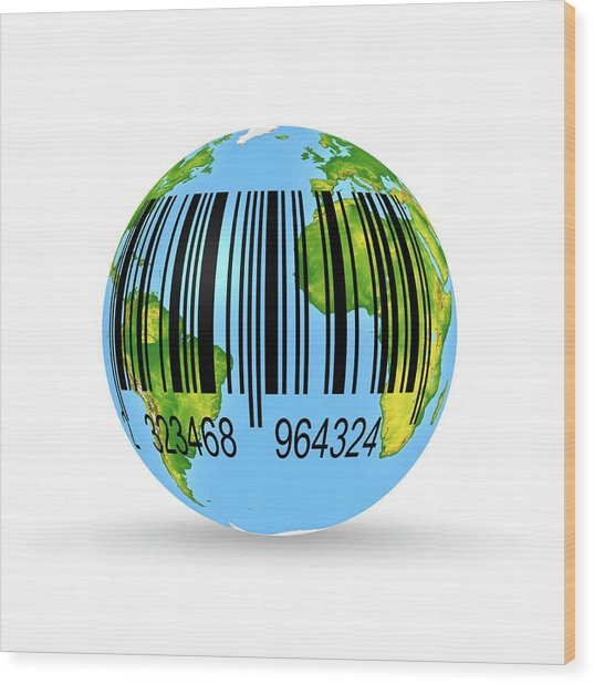Barcoded Earth Wood Print
