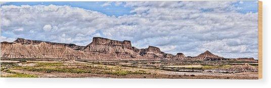 Bardenas Desert Panorama 1 Wood Print