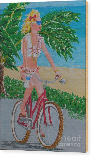 Barefoot Beach Crusing  Wood Print