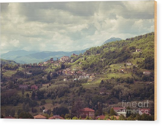 Barga In Alpi Apuane Mountains Tuscany Wood Print