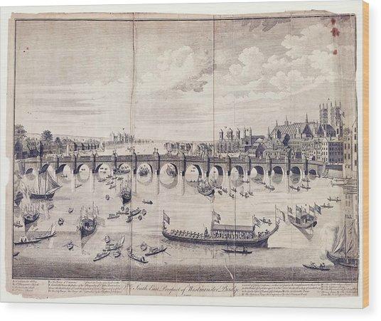 Barges At Westminster Bridge Wood Print