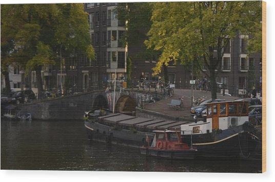 barges in Amsterdam Wood Print