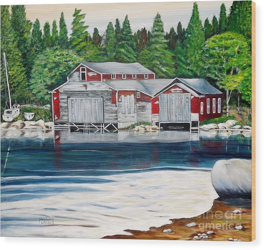 Barkhouse Boatshed Wood Print